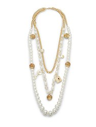Saks Fifth Avenue Simulated Pearl Multi Layer Beaded Charm Goldtone Necklace