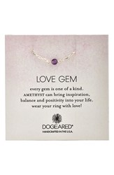 Women's Dogeared 'Love Gem' Semiprecious Stone Chain Ring Amethyst Silver