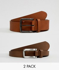 Asos Design 2 Pack Faux Leather Wide Belt In Tan And Brown Save Multi