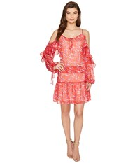 Adelyn Rae Kaileen Woven Printed Frill Shirtdress Red Orange Women's Dress