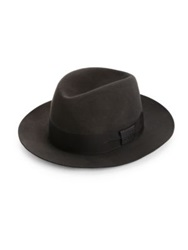 Barbisio Felted Rabbit Fedora Navy Brown