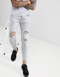 Bershka Super Skinny Jeans In Grey With Knee Rips Light Grey