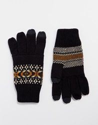 Asos Touch Screen Gloves In Navy Fair Isle Palm Print