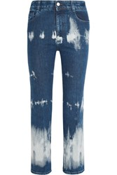Stella Mccartney Cropped Tie Dyed High Rise Bootcut Jeans Mid Denim