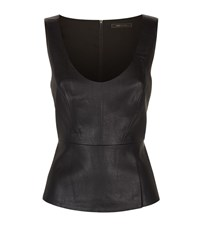 Bcbgmaxazria Faux Leather Peplum Top Female Black