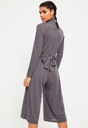 Missguided Grey High Neck Long Sleeve Belted Culotte Jumpsuit
