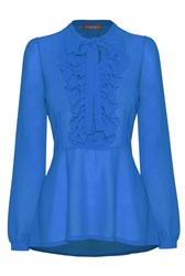 James Lakeland Long Sleeve Frill Blouse Blue