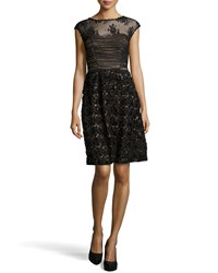 Sue Wong Embroidered Rosette Skirt Cocktail Dress Women's