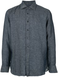 120 Lino Textured Longsleeved Shirt Grey
