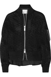 Sacai Shell Trimmed Broderie Anglaise Cotton Bomber Jacket Black