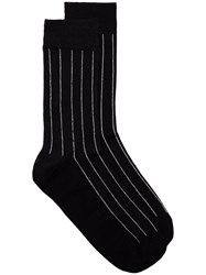 Haider Ackermann Striped Socks Silk Nylon Spandex Elastane Black