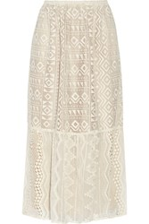 Anna Sui Silk Georgette Paneled Lace Skirt Cream