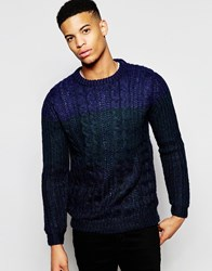 Pull And Bear Pullandbear Cable Knit Ombre Jumper In Navy Brown