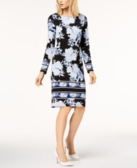 Inc International Concepts Petite Printed Striped Border Sheath Dress Created For Macy's Blue