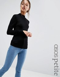 Asos Petite Jumper With Turtle Neck In Soft Yarn Black