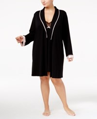 Thalia Sodi Plus Size Satin Trimmed Knit Wrap Robe Only At Macy's Deep Black