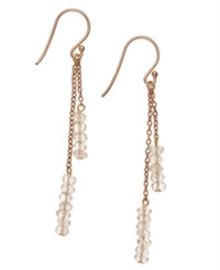 Studio Silver Rose Quartz Bead Double Chain Drop Earrings In 18K Rose Gold Over Sterling Silver 1 5 Ct. T.W.