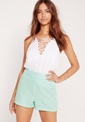 Missguided Button Front Pocket Shorts Green Green