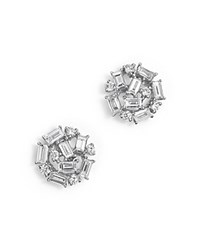Kc Designs Diamond Round And Baguette Stud Earrings In 14K White Gold .60 Ct. T.W.