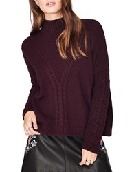 Miss Selfridge Cable Knit Textured Mock Turtleneck Sweater Purple