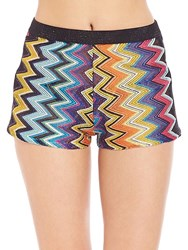 Missoni Metallic Knit Shorts Cover Up Black