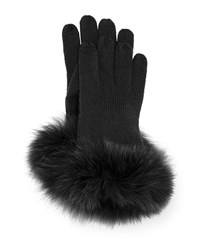 Tech Gloves W Fur Cuff Black Sofia Cashmere
