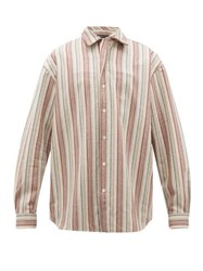 Y Project Twisted Placket Striped Wool Blend Twill Shirt Beige Stripe