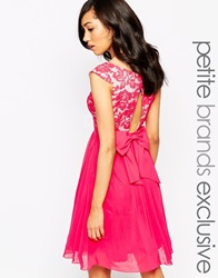 Little Mistress Petite Bardot Lace Prom Dress With Bow Detail Hotpink