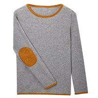 Orwell Austen Cashmere Grey And Gold Elbow Patch Sweater Gold Grey