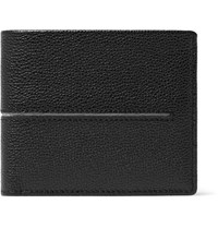 Tod's Striped Pebble Grain Leather Billfold Wallet Black