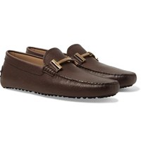 Tod's Full Grain Leather Driving Shoes Brown