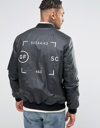 Asos Bomber Jacket In Waxed Cotton With Print Black