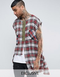 Reclaimed Vintage Inspired Oversized Flannel Tunic With Distressing Red