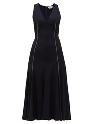 Gabriela Hearst Annabelle Fit And Flare Wool Blend Crepe Dress Navy Multi