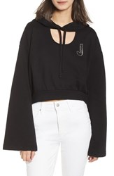Juicy Couture Glitter Embellished Logo Hoodie Pitch Black