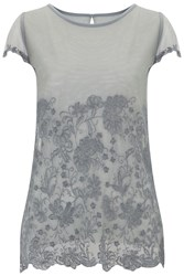 Nougat London Lily Embroidered T Shirt Charcoal