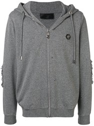 Philipp Plein Logo Patch Cardigan Grey
