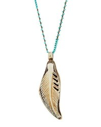Native Gem Jewelry Long Beaded Feather Pendant Necklace Turquoise