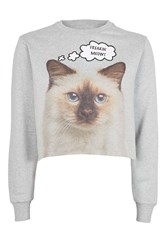 Topshop Freaking Meowt Crop Sweat By Tee And Cake Grey