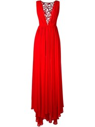Christian Pellizzari Lace Panel Slit Dress Red