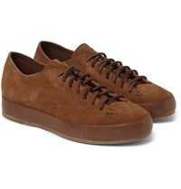 Feit Leather Trimmed Suede Sneakers Tan