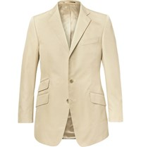 Cordings Beige Slim Fit Cotton Drill Blazer Beige