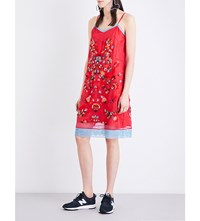 Koche Bead Appliqua Silk Organza Slip Dress Red Blue
