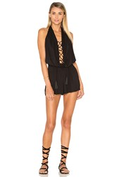 Indah Swoon Lace Up Romper Black