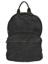 Officine Creative Washed Croc Embossed Nubuck Backpack