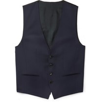 Hugo Boss Blue Wilson Slim Fit Super 120S Virgin Wool Waistcoat Navy