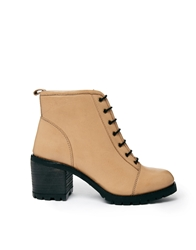 Bertie Sentry Lace Up Heeled Boots Naturalleather