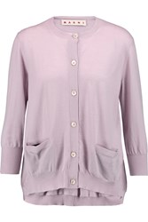 Marni Cashmere And Silk Blend Cardigan Purple