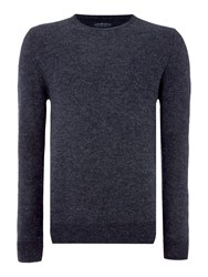 Criminal Men's Robin Textured Crew Neck Pull Over Jumpers Navy