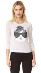 Alice Olivia Stace Face Peekaboo Sequin Sweater White Multi